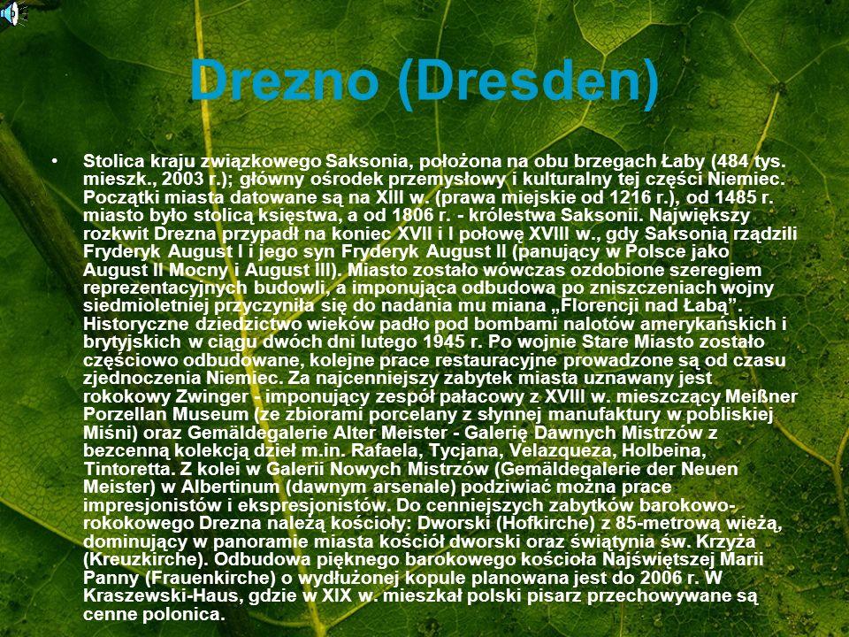 Drezno (Dresden) Stolica kraju związkowego Saksonia, położona na obu brzegach Łaby (484 tys. mieszk., 2003 r.); główny ośrodek przemysłowy i kulturaln