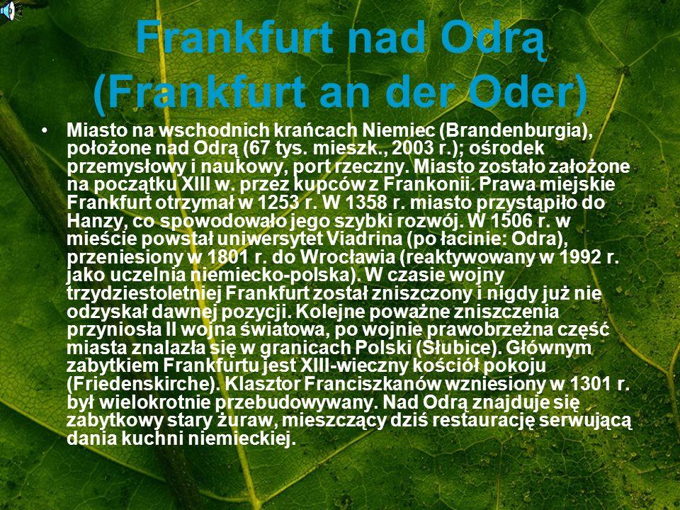 Frankfurt nad Odrą (Frankfurt an der Oder) Miasto na wschodnich krańcach Niemiec (Brandenburgia), położone nad Odrą (67 tys. mieszk., 2003 r.); ośrode
