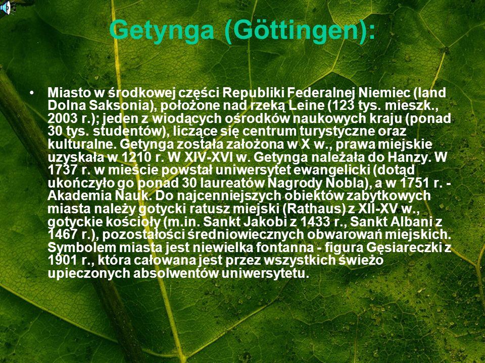 Getynga (Göttingen): Miasto w środkowej części Republiki Federalnej Niemiec (land Dolna Saksonia), położone nad rzeką Leine (123 tys. mieszk., 2003 r.