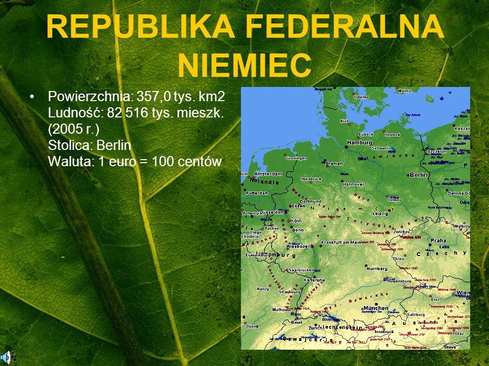 REPUBLIKA FEDERALNA NIEMIEC Powierzchnia: 357,0 tys. km2 Ludność: 82 516 tys. mieszk. (2005 r.) Stolica: Berlin Waluta: 1 euro = 100 centów