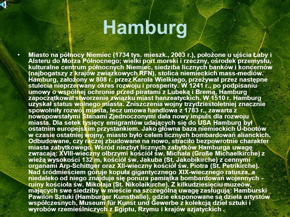 Hamburg Miasto na północy Niemiec (1734 tys. mieszk., 2003 r.), położone u ujścia Łaby i Alsteru do Morza Północnego; wielki port morski i rzeczny, oś