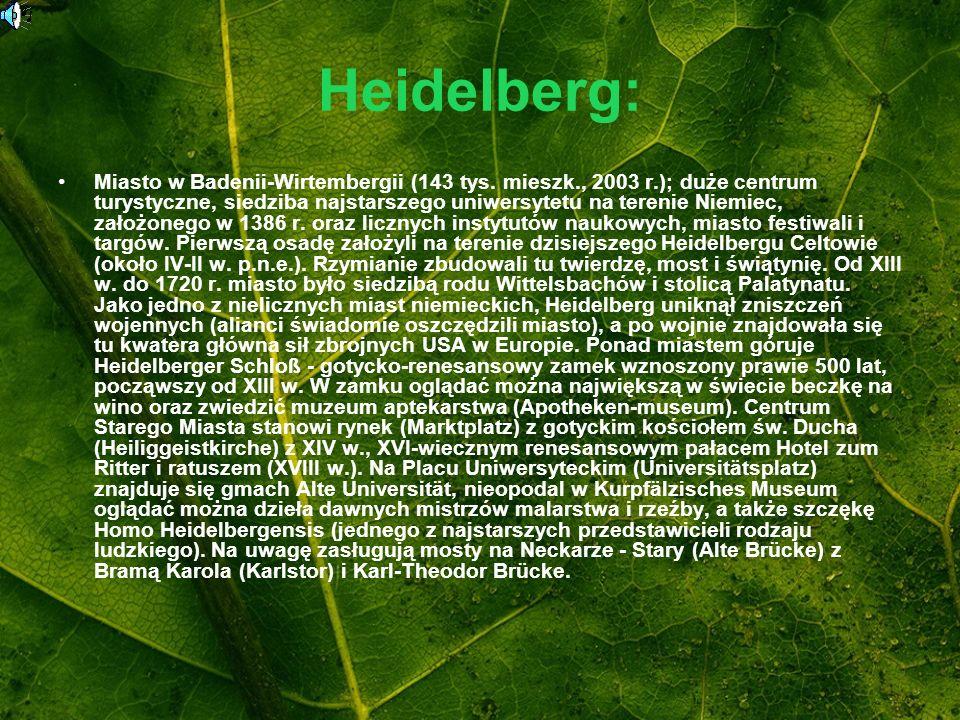 Heidelberg: Miasto w Badenii-Wirtembergii (143 tys. mieszk., 2003 r.); duże centrum turystyczne, siedziba najstarszego uniwersytetu na terenie Niemiec