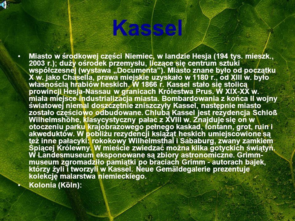 Kassel Miasto w środkowej części Niemiec, w landzie Hesja (194 tys. mieszk., 2003 r.); duży ośrodek przemysłu, liczące się centrum sztuki współczesnej
