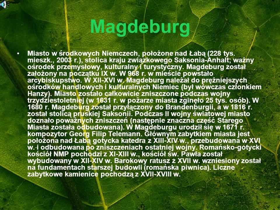 Magdeburg Miasto w środkowych Niemczech, położone nad Łabą (228 tys. mieszk., 2003 r.), stolica kraju związkowego Saksonia-Anhalt; ważny ośrodek przem