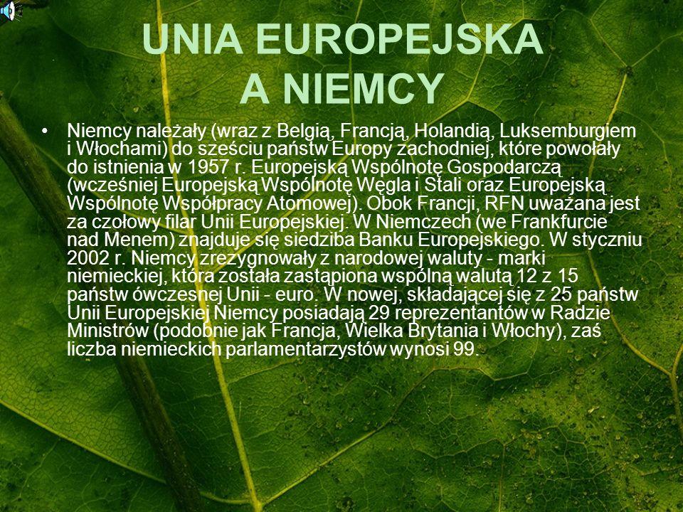 UNIA EUROPEJSKA A NIEMCY Niemcy należały (wraz z Belgią, Francją, Holandią, Luksemburgiem i Włochami) do sześciu państw Europy zachodniej, które powoł