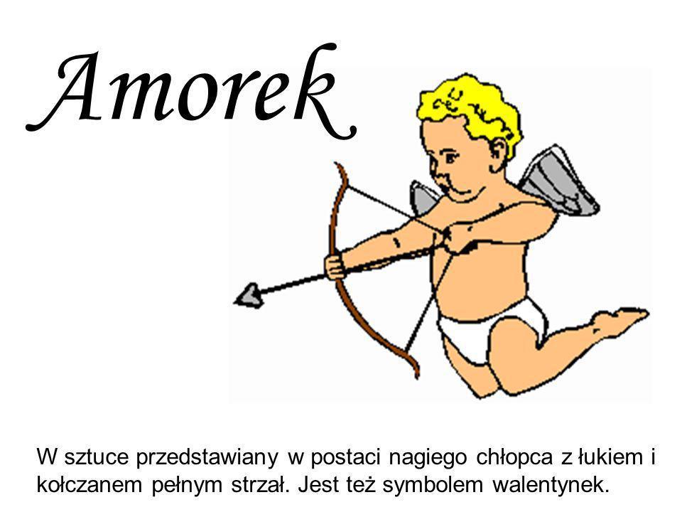 W sztuce przedstawiany w postaci nagiego chłopca z łukiem i kołczanem pełnym strzał. Jest też symbolem walentynek. Amorek