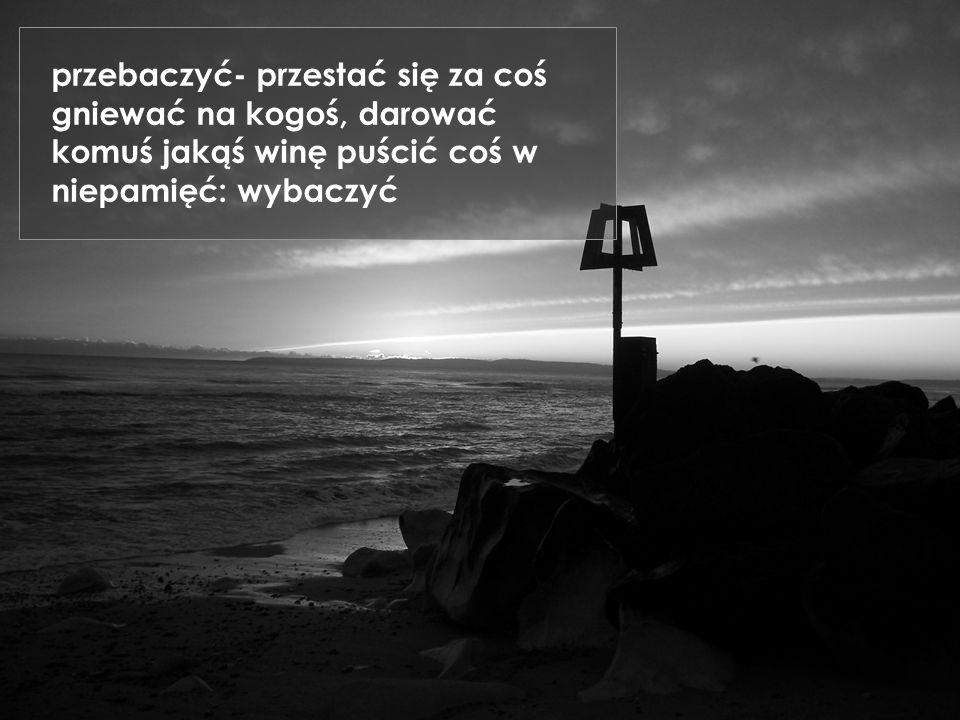 przebaczyć- przestać się za coś gniewać na kogoś, darować komuś jakąś winę puścić coś w niepamięć: wybaczyć