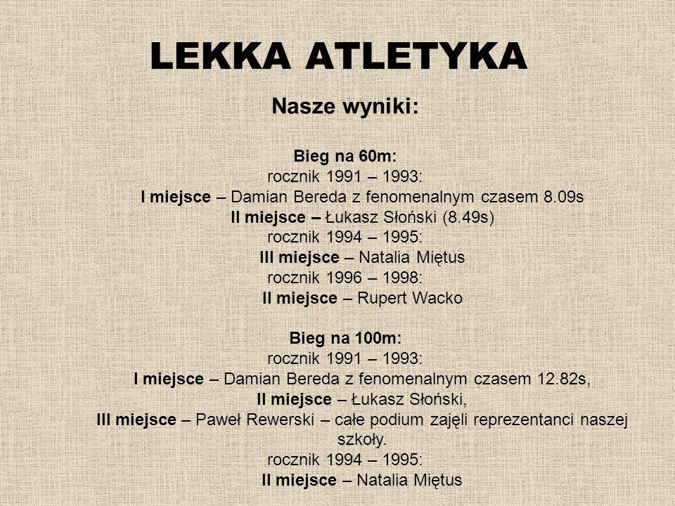 LEKKA ATLETYKA Nasze wyniki: Bieg na 60m: rocznik 1991 – 1993: I miejsce – Damian Bereda z fenomenalnym czasem 8.09s II miejsce – Łukasz Słoński (8.49