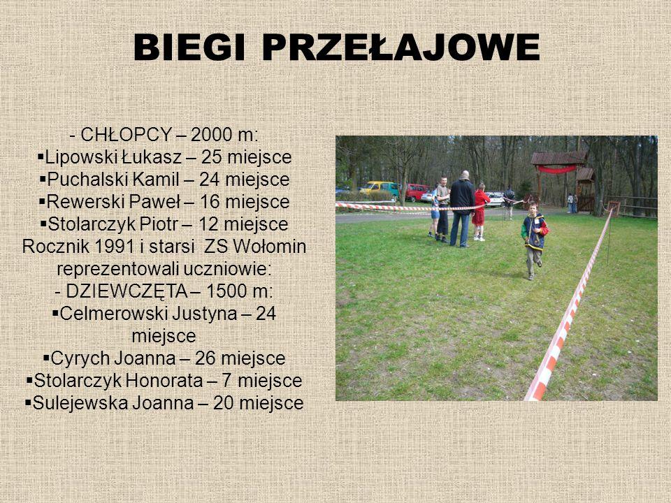 BIEGI PRZEŁAJOWE - CHŁOPCY – 2000 m: Lipowski Łukasz – 25 miejsce Puchalski Kamil – 24 miejsce Rewerski Paweł – 16 miejsce Stolarczyk Piotr – 12 miejs