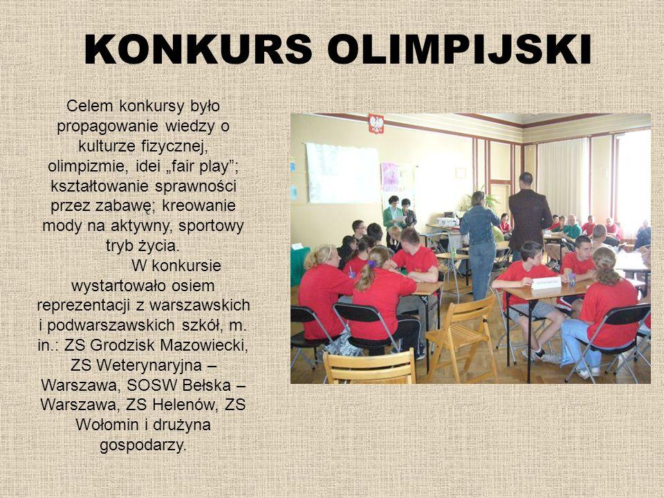 KONKURS OLIMPIJSKI Celem konkursy było propagowanie wiedzy o kulturze fizycznej, olimpizmie, idei fair play; kształtowanie sprawności przez zabawę; kr