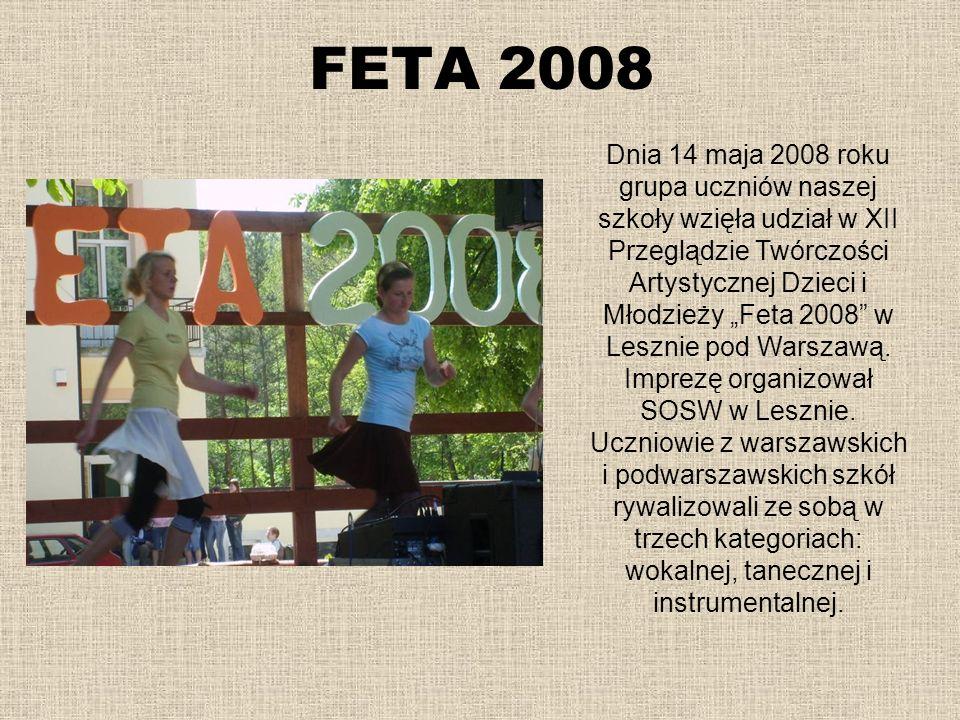 FETA 2008 Dnia 14 maja 2008 roku grupa uczniów naszej szkoły wzięła udział w XII Przeglądzie Twórczości Artystycznej Dzieci i Młodzieży Feta 2008 w Le