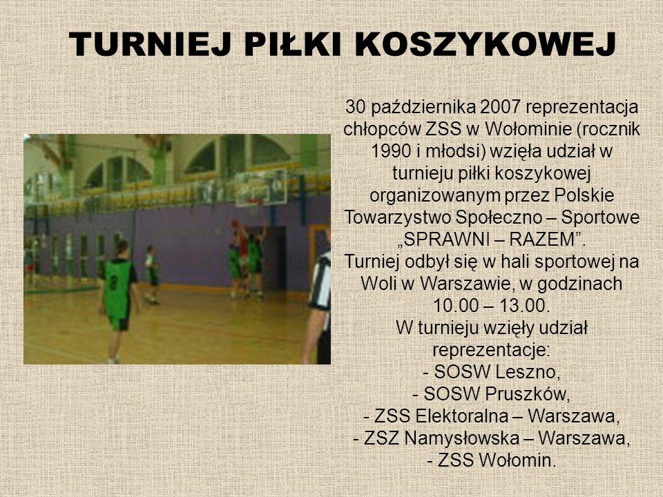 TURNIEJ PIŁKI KOSZYKOWEJ 30 października 2007 reprezentacja chłopców ZSS w Wołominie (rocznik 1990 i młodsi) wzięła udział w turnieju piłki koszykowej