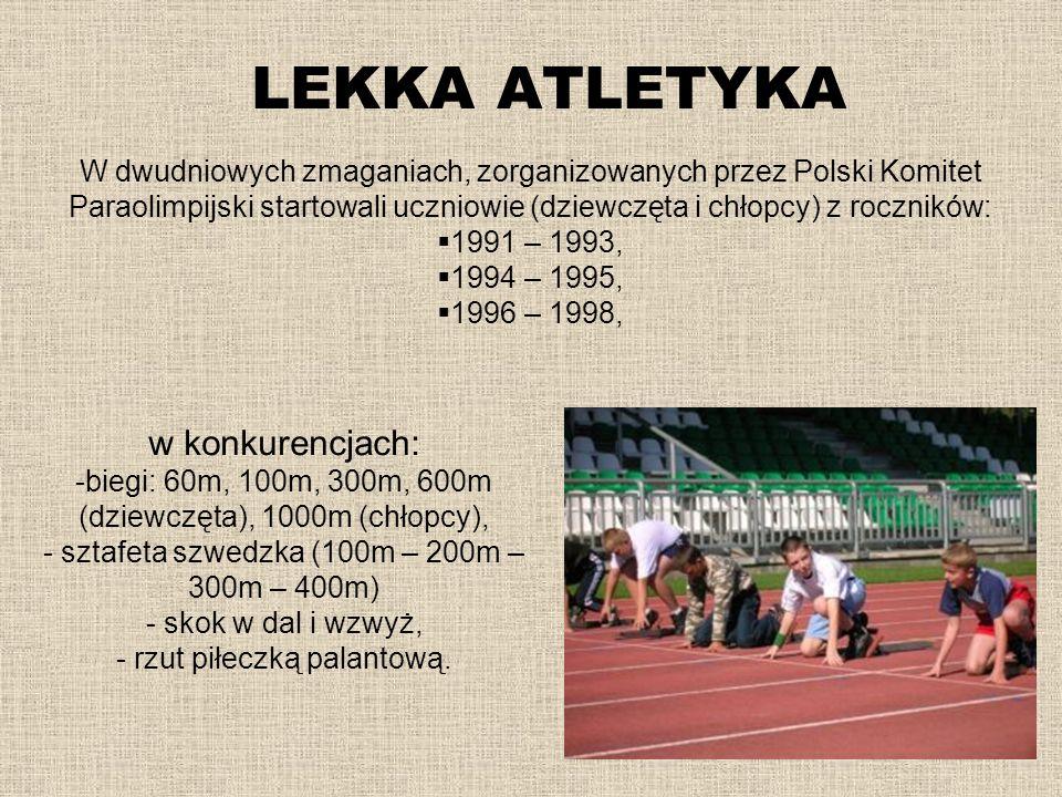 LEKKA ATLETYKA W dwudniowych zmaganiach, zorganizowanych przez Polski Komitet Paraolimpijski startowali uczniowie (dziewczęta i chłopcy) z roczników: