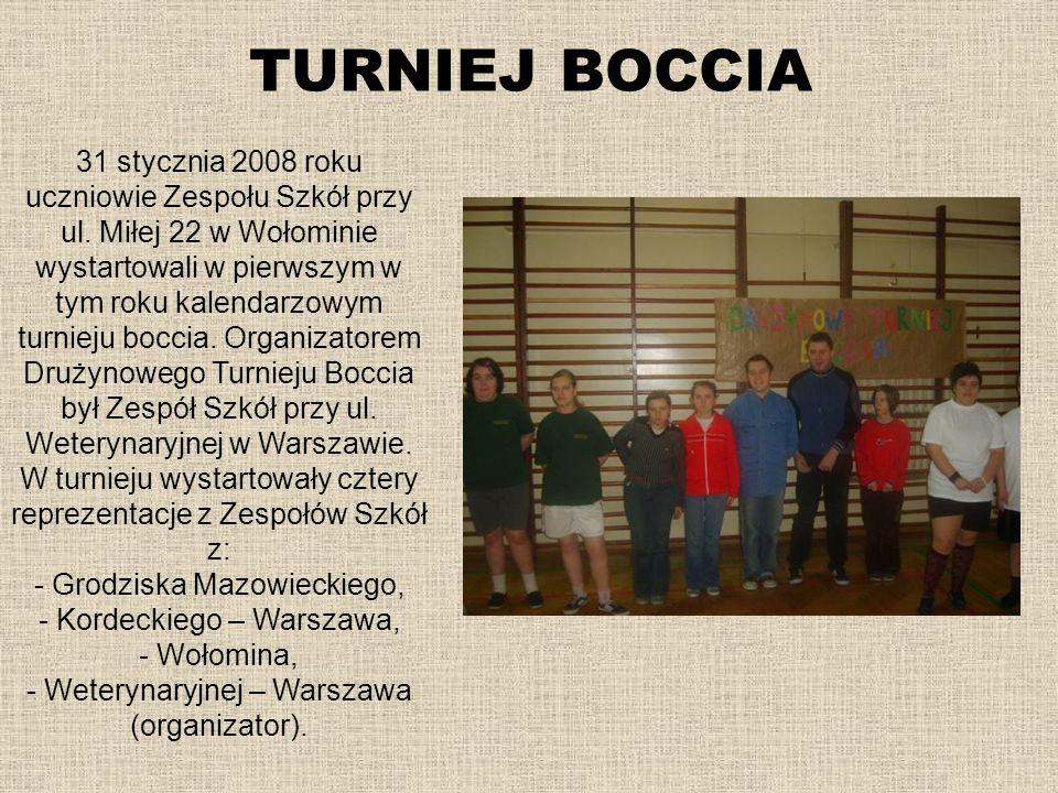 TURNIEJ BOCCIA 31 stycznia 2008 roku uczniowie Zespołu Szkół przy ul. Miłej 22 w Wołominie wystartowali w pierwszym w tym roku kalendarzowym turnieju