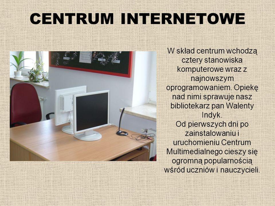 W skład centrum wchodzą cztery stanowiska komputerowe wraz z najnowszym oprogramowaniem. Opiekę nad nimi sprawuje nasz bibliotekarz pan Walenty Indyk.