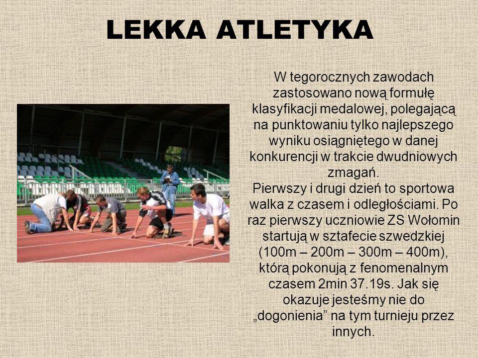 LEKKA ATLETYKA W tegorocznych zawodach zastosowano nową formułę klasyfikacji medalowej, polegającą na punktowaniu tylko najlepszego wyniku osiągnięteg