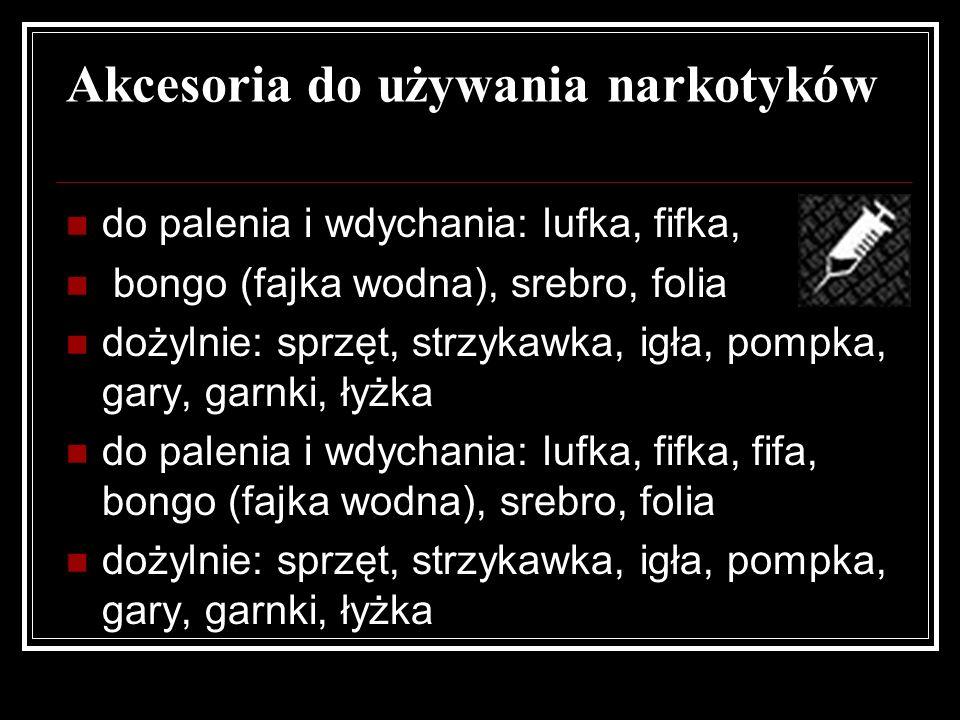 Akcesoria do używania narkotyków do palenia i wdychania: lufka, fifka, bongo (fajka wodna), srebro, folia dożylnie: sprzęt, strzykawka, igła, pompka,