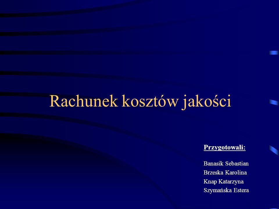 Rachunek kosztów jakości Przygotowali: Banasik Sebastian Brzeska Karolina Knap Katarzyna Szymańska Estera