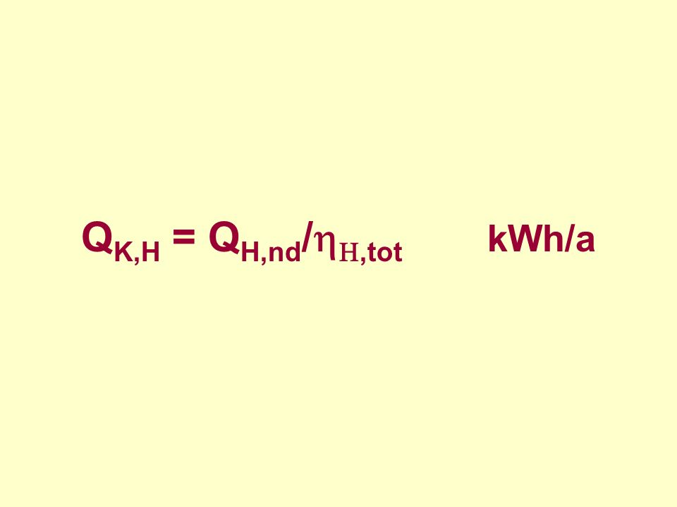 H,tot = H,g + H,s + H,d + H,e gdzie: Q H,nd zapotrzebowanie na energię użytkową (ciepło użytkowe) przez budynek (lokal), kWh/rok H,tot średnia sezonowa sprawność całkowita systemu grzewczego budynku – od wytwarzania (konwersji) ciepła do przekazania w pomieszczeniu, H,g średnia sezonowa sprawność wytworzenia nośnika ciepła z energii dostarczanej do granicy bilansowej budynku (energii końcowej), H,s średnia sezonowa sprawność akumulacji ciepła w elementach pojemnościowych systemu grzewczego budynku (w obrębie osłony bilansowej lub poza nią), H,d średnia sezonowa sprawność transportu (dystrybucji) nośnika ciepła w obrębie budynku (osłony bilansowej lub poza nią), H,e średnia sezonowa sprawność regulacji i wykorzystania ciepła w budynku (w obrębie osłony bilansowej)