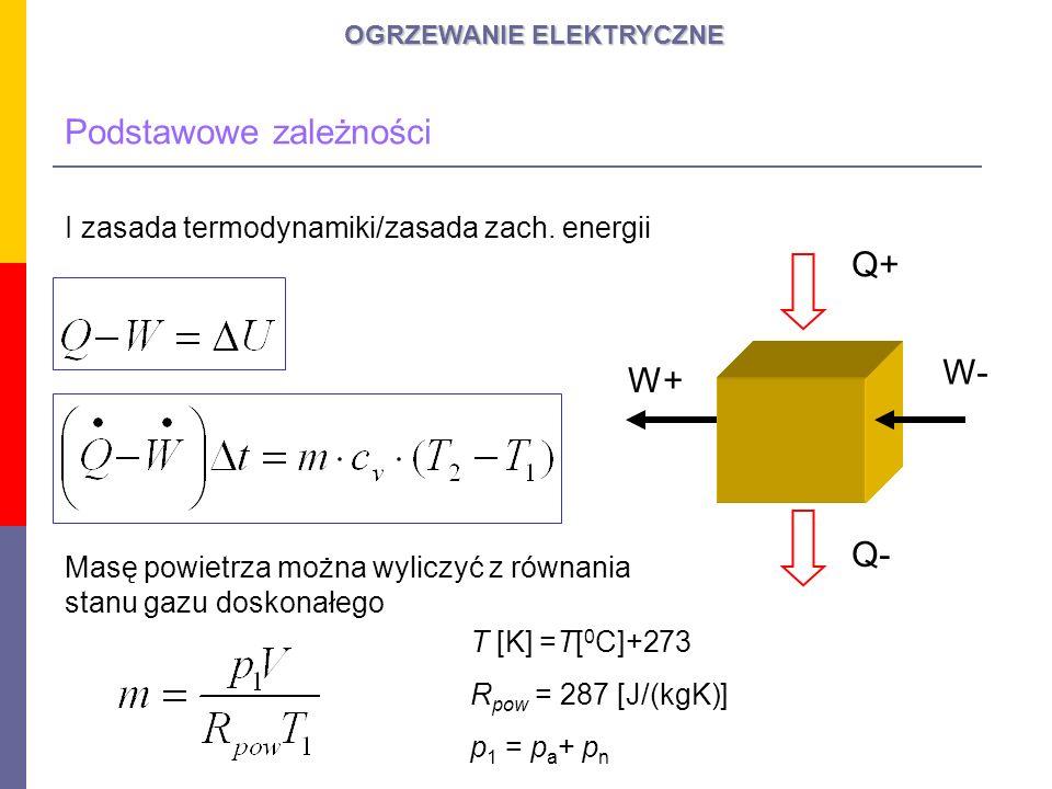 OGRZEWANIE ELEKTRYCZNE Podstawowe zależności I zasada termodynamiki/zasada zach. energii Q+ Q- W- W+ Masę powietrza można wyliczyć z równania stanu ga