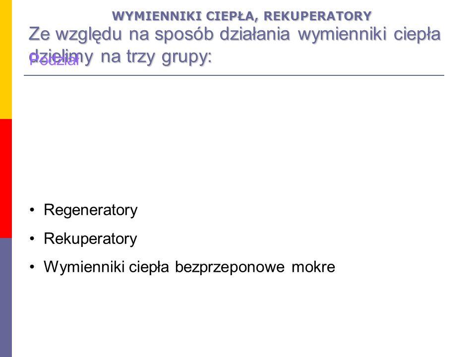 Rekuperatory (wymienniki przeponowe lub powierzchniowe).
