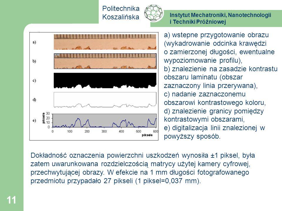 Instytut Mechatroniki, Nanotechnologii i Techniki Próżniowej Politechnika Koszalińska 11 a) wstepne przygotowanie obrazu (wykadrowanie odcinka krawędz
