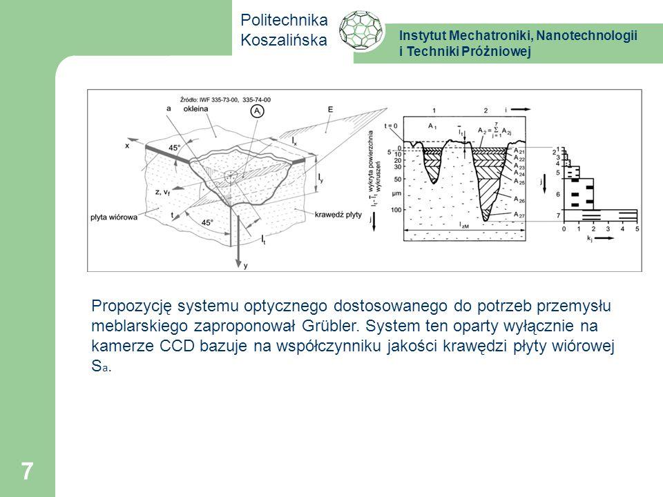 Instytut Mechatroniki, Nanotechnologii i Techniki Próżniowej Politechnika Koszalińska 7 Propozycję systemu optycznego dostosowanego do potrzeb przemys
