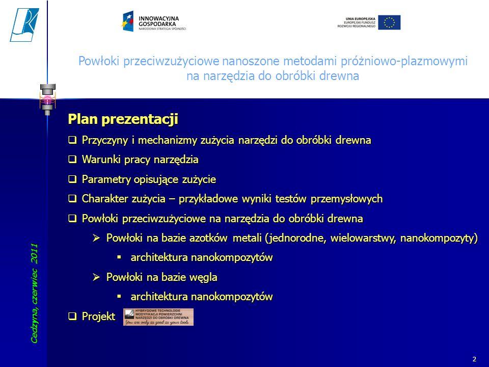 Cedzyna, czerwiec 2011 Koszalin University of Technology 2 Powłoki przeciwzużyciowe nanoszone metodami próżniowo-plazmowymi na narzędzia do obróbki dr