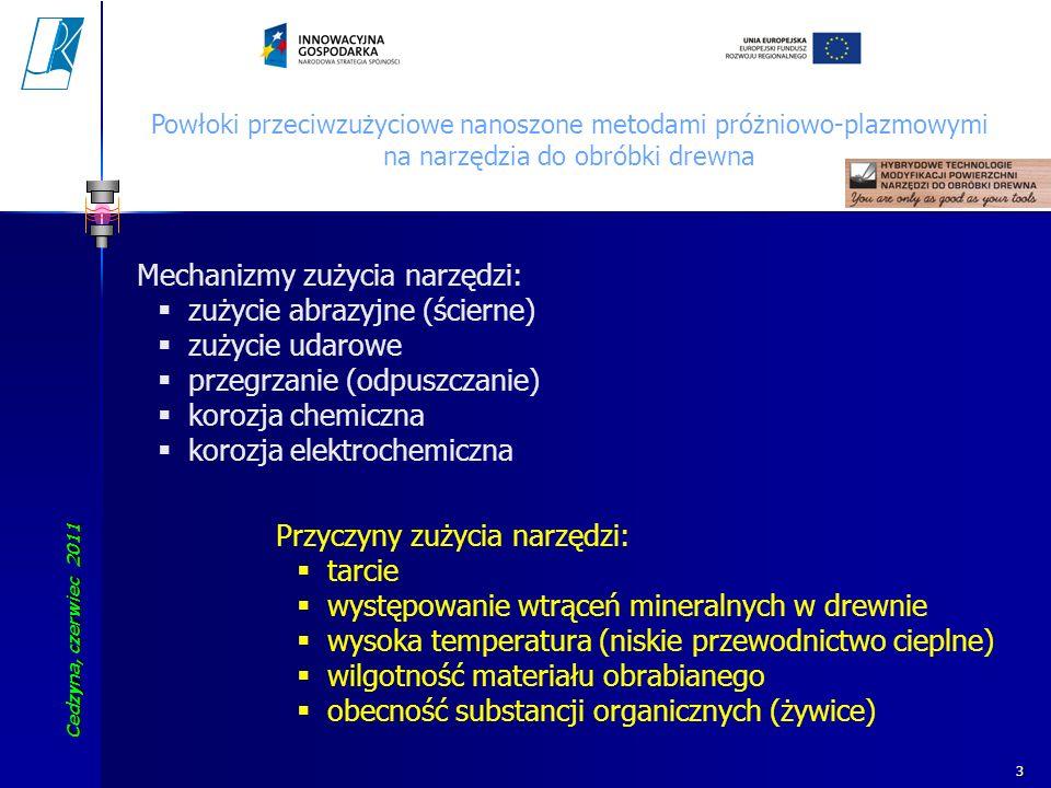 Cedzyna, czerwiec 2011 Koszalin University of Technology 34 Powłoki przeciwzużyciowe nanoszone metodami próżniowo-plazmowymi na narzędzia do obróbki drewna