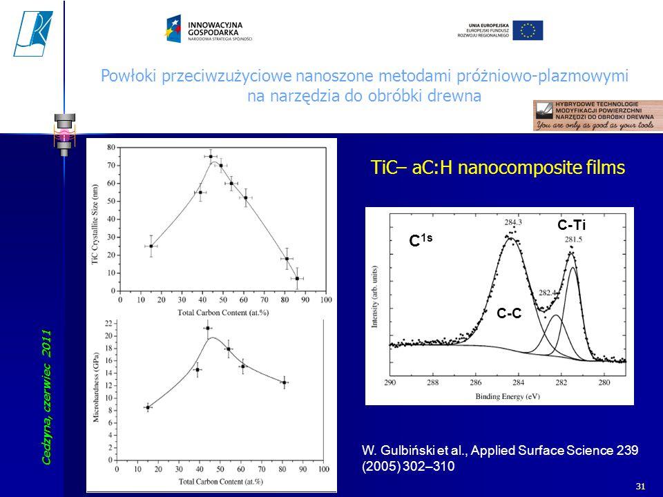 Cedzyna, czerwiec 2011 Koszalin University of Technology 31 C 1s C-C C-Ti W. Gulbiński et al., Applied Surface Science 239 (2005) 302–310 TiC– aC:H na