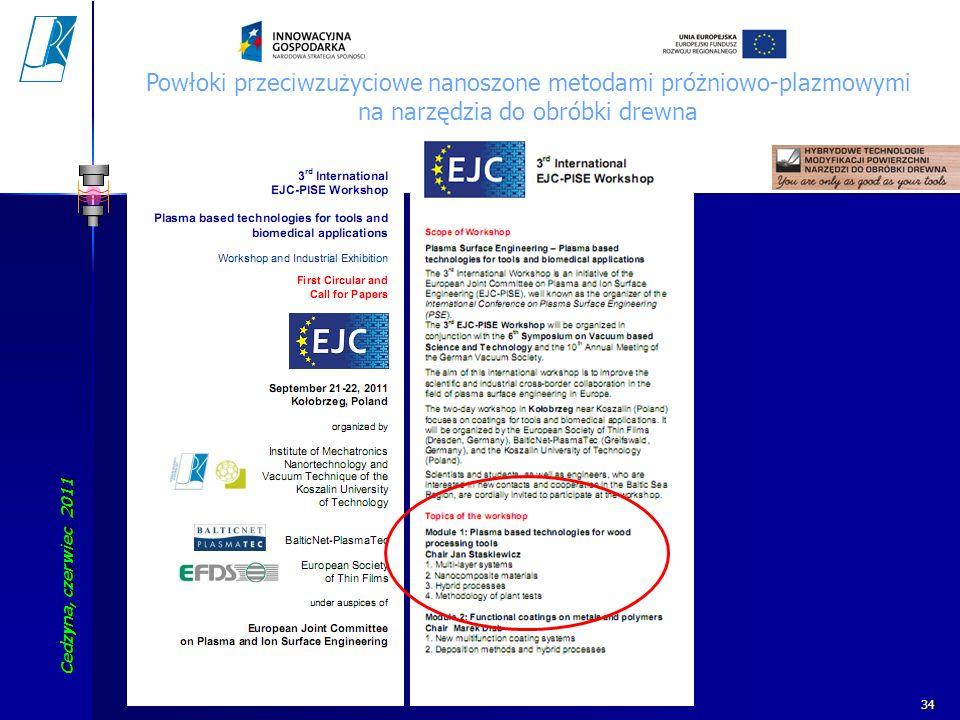 Cedzyna, czerwiec 2011 Koszalin University of Technology 34 Powłoki przeciwzużyciowe nanoszone metodami próżniowo-plazmowymi na narzędzia do obróbki d