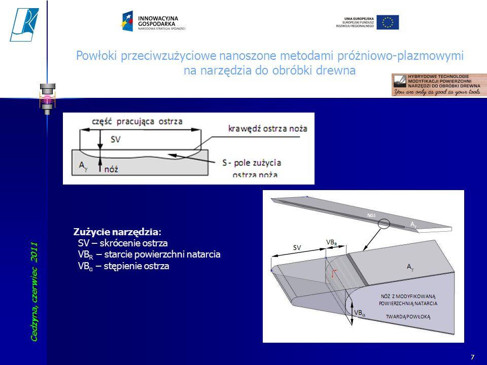 Cedzyna, czerwiec 2011 Koszalin University of Technology 8 Powłoki przeciwzużyciowe nanoszone metodami próżniowo-plazmowymi na narzędzia do obróbki drewna