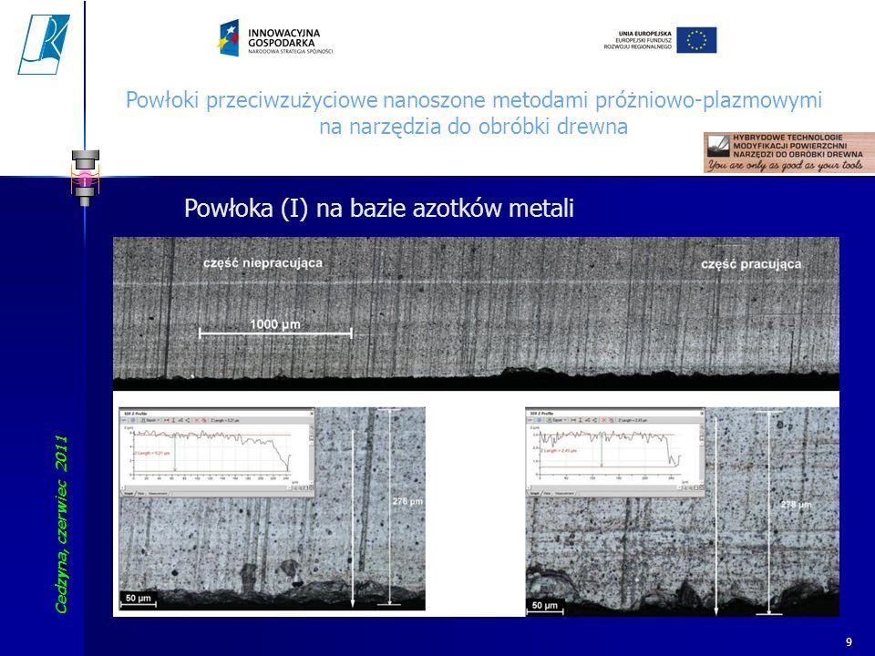 Cedzyna, czerwiec 2011 Koszalin University of Technology 10 Powłoki przeciwzużyciowe nanoszone metodami próżniowo-plazmowymi na narzędzia do obróbki drewna Powłoka (II) na bazie azotków metali