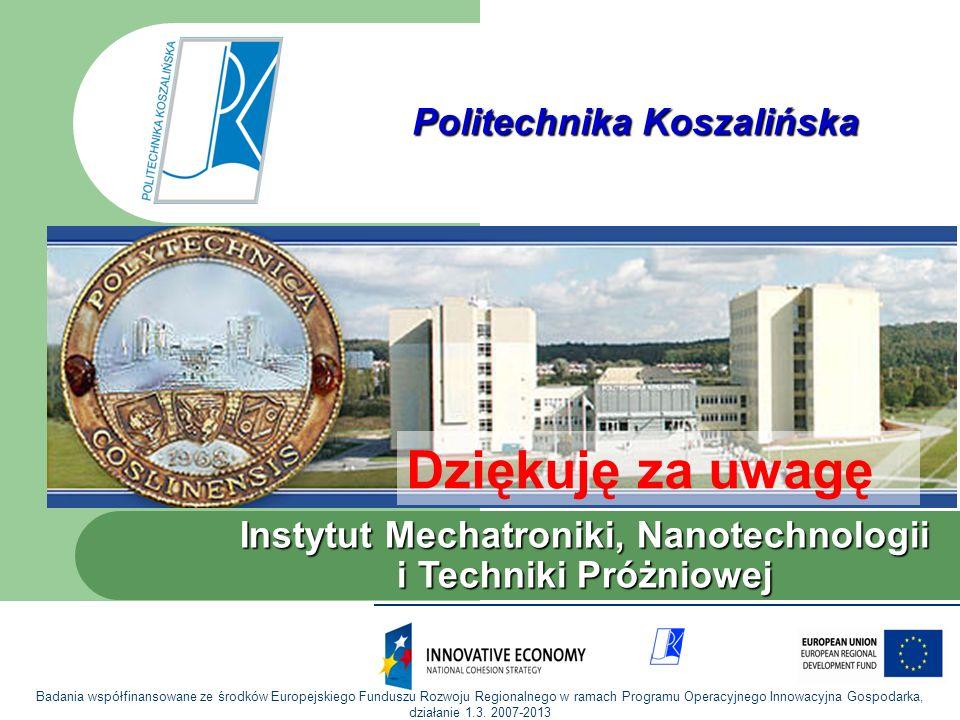 Instytut Mechatroniki, Nanotechnologii i Technik Próżniowych Politechnika Koszalińska Instytut Mechatroniki, Nanotechnologii i Techniki Próżniowej Dzi