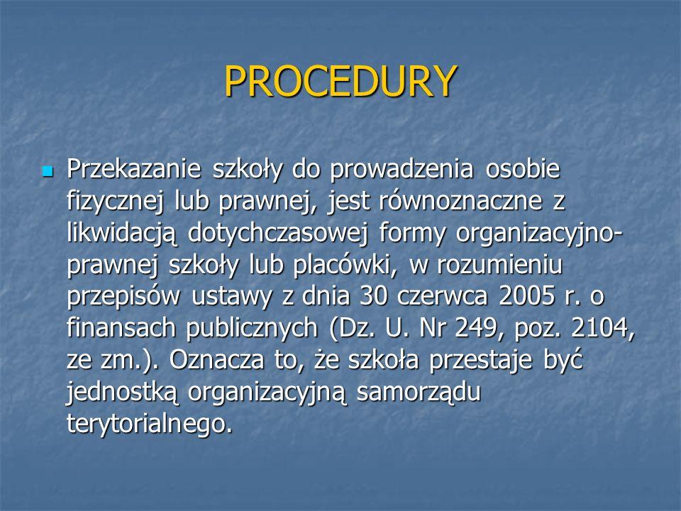 PROCEDURY Przekazanie szkoły do prowadzenia osobie fizycznej lub prawnej, jest równoznaczne z likwidacją dotychczasowej formy organizacyjno- prawnej s