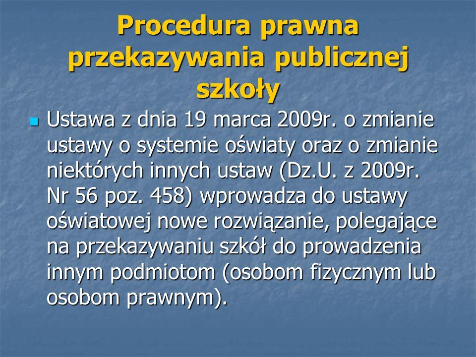 Ustawa z dnia 19 marca 2009r. o zmianie ustawy o systemie oświaty oraz o zmianie niektórych innych ustaw (Dz.U. z 2009r. Nr 56 poz. 458) wprowadza do