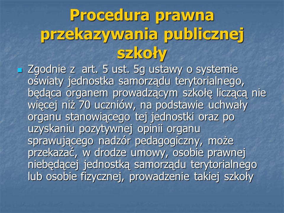 Procedura prawna przekazywania publicznej szkoły Zgodnie z art. 5 ust. 5g ustawy o systemie oświaty jednostka samorządu terytorialnego, będąca organem