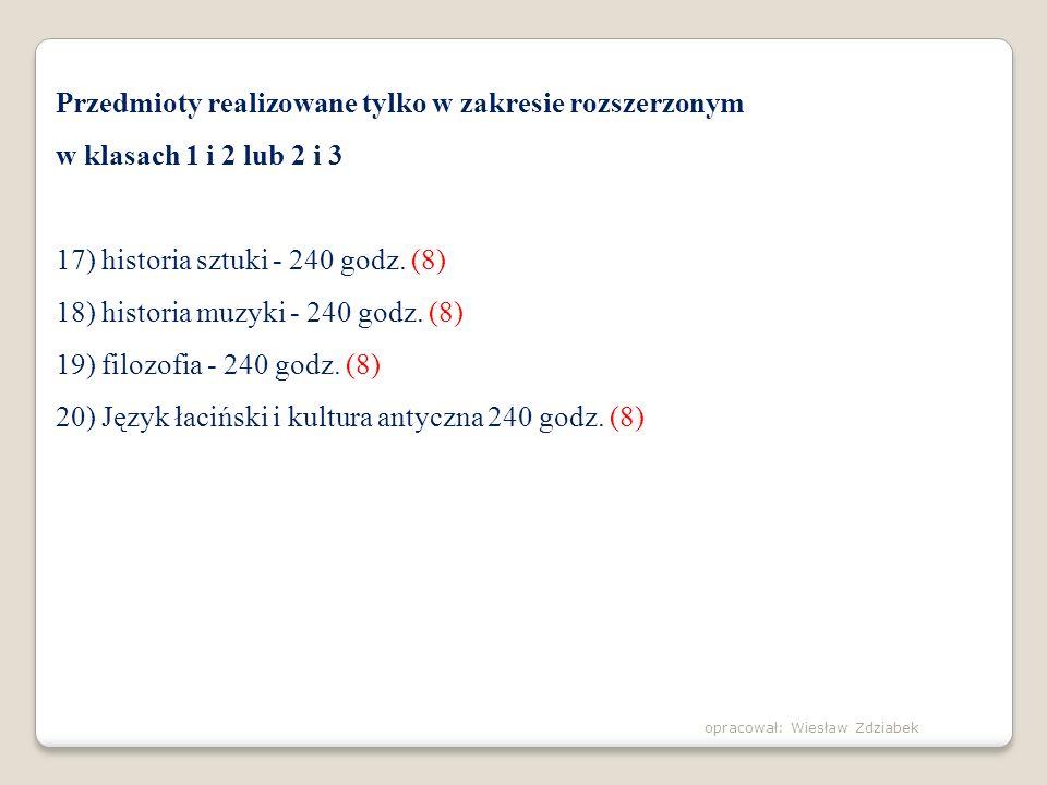 Przedmioty realizowane tylko w zakresie rozszerzonym w klasach 1 i 2 lub 2 i 3 17) historia sztuki - 240 godz. (8) 18) historia muzyki - 240 godz. (8)