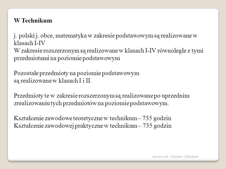 W Technikum j. polski j. obce, matematyka w zakresie podstawowym są realizowane w klasach I-IV W zakresie rozszerzonym są realizowane w klasach I-IV r