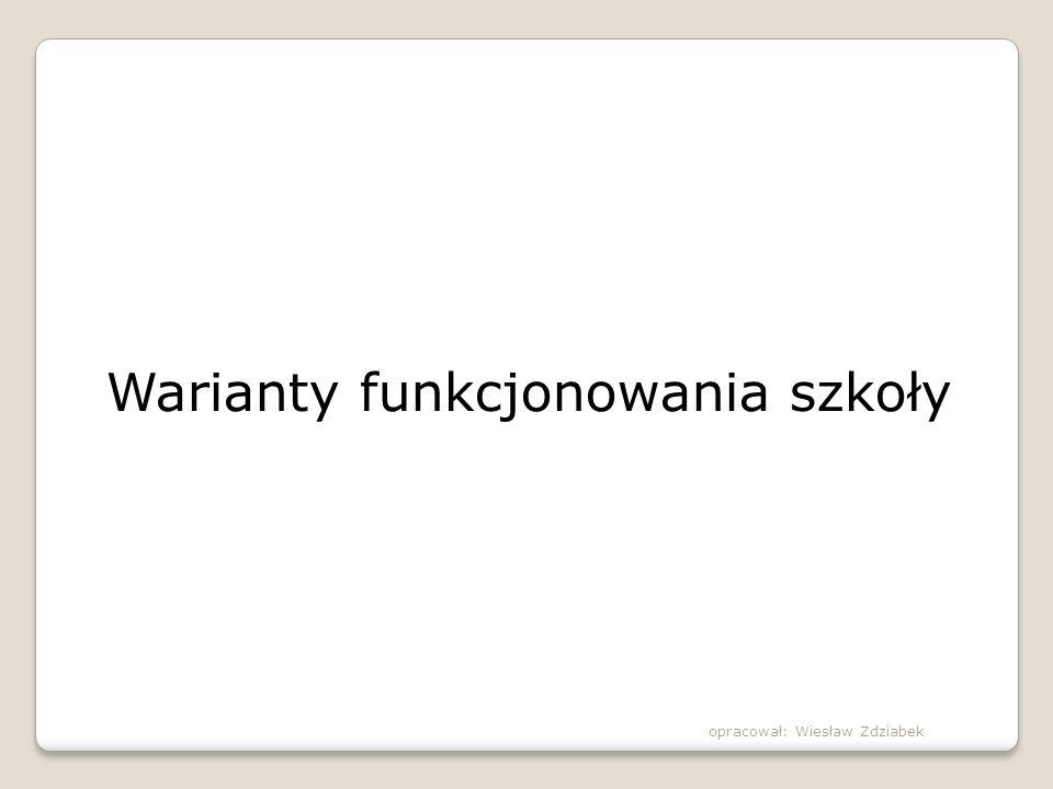 Warianty funkcjonowania szkoły opracował: Wiesław Zdziabek