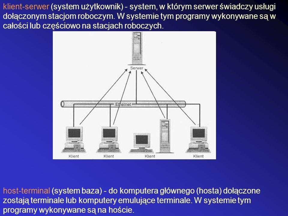 klient-serwer (system użytkownik) - system, w którym serwer świadczy usługi dołączonym stacjom roboczym. W systemie tym programy wykonywane są w całoś