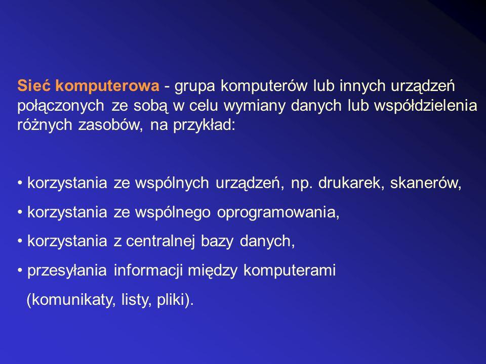 Sieć komputerowa - grupa komputerów lub innych urządzeń połączonych ze sobą w celu wymiany danych lub współdzielenia różnych zasobów, na przykład: kor