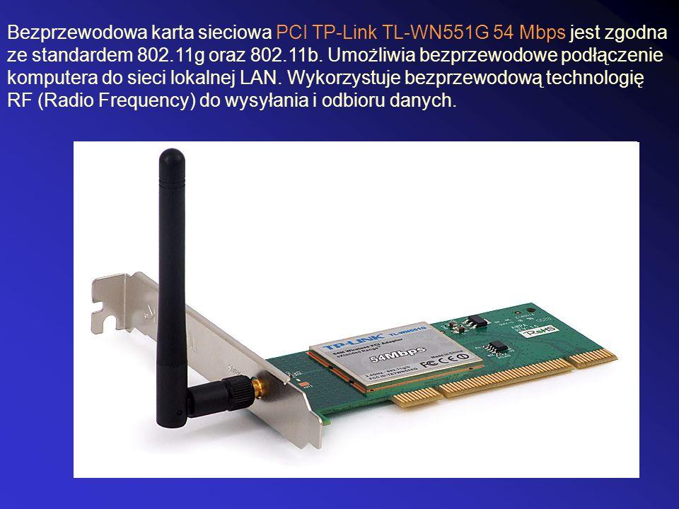 Bezprzewodowa karta sieciowa PCI TP-Link TL-WN551G 54 Mbps jest zgodna ze standardem 802.11g oraz 802.11b. Umożliwia bezprzewodowe podłączenie kompute