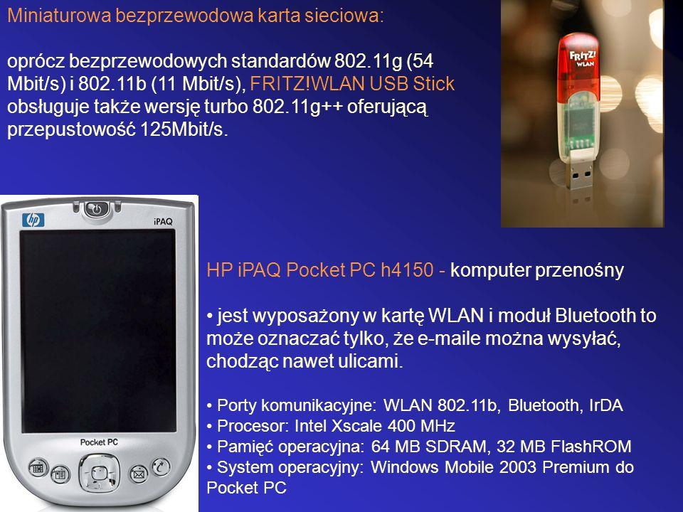 Miniaturowa bezprzewodowa karta sieciowa: oprócz bezprzewodowych standardów 802.11g (54 Mbit/s) i 802.11b (11 Mbit/s), FRITZ!WLAN USB Stick obsługuje