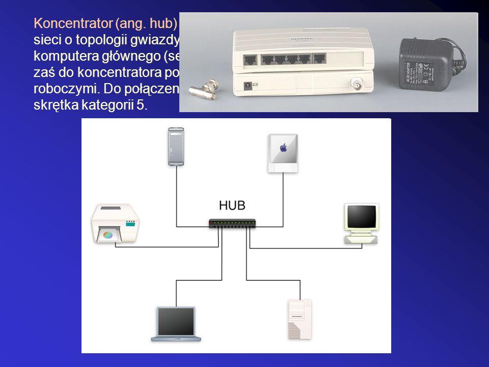 Koncentrator (ang. hub) - urządzenie łączące wiele komputerów w sieci o topologii gwiazdy. Koncentrator najczęściej podłączany jest do komputera główn
