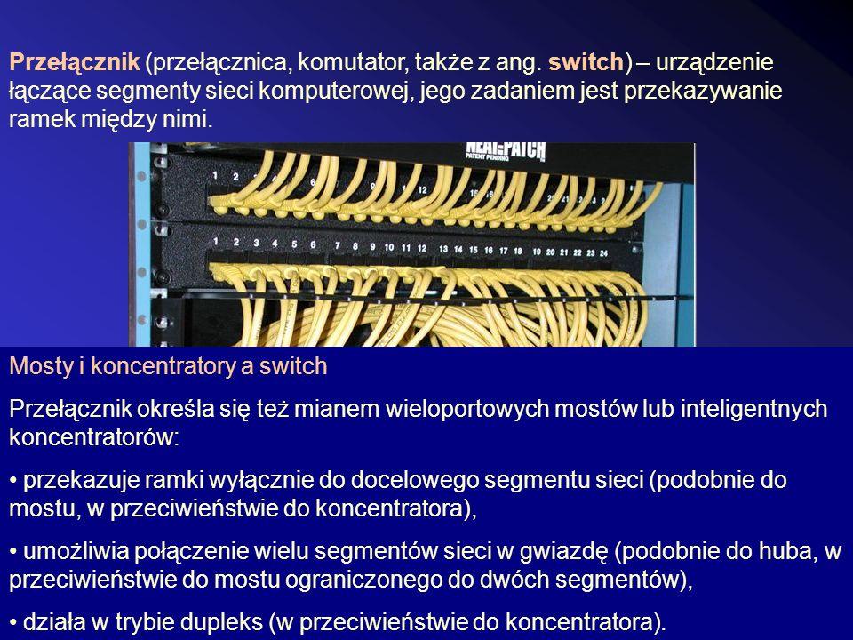 Przełącznik (przełącznica, komutator, także z ang. switch) – urządzenie łączące segmenty sieci komputerowej, jego zadaniem jest przekazywanie ramek mi
