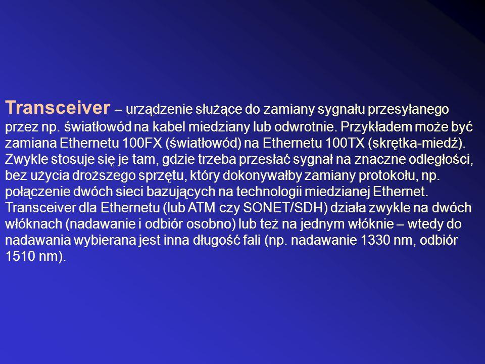 Transceiver – urządzenie służące do zamiany sygnału przesyłanego przez np. światłowód na kabel miedziany lub odwrotnie. Przykładem może być zamiana Et