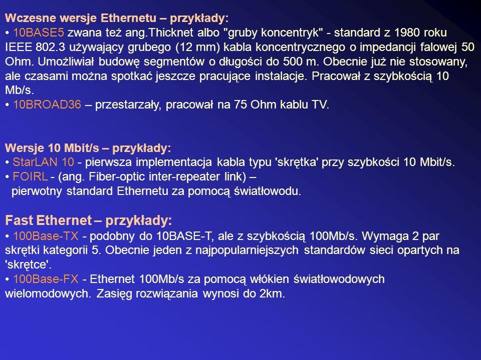 Wczesne wersje Ethernetu – przykłady: 10BASE5 zwana też ang.Thicknet albo
