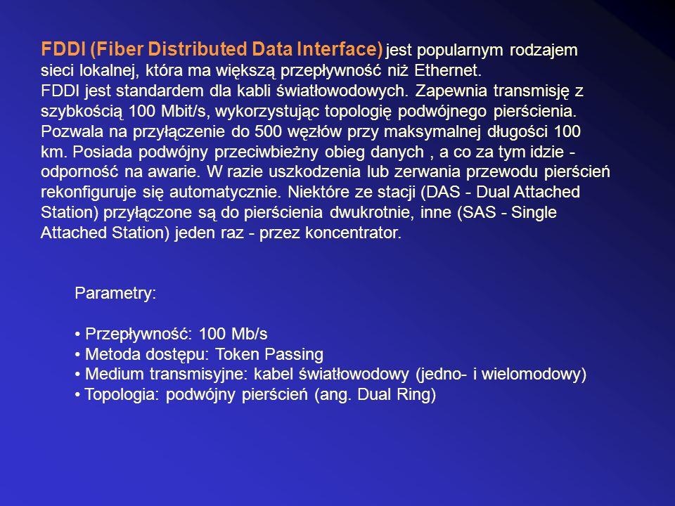FDDI (Fiber Distributed Data Interface) jest popularnym rodzajem sieci lokalnej, która ma większą przepływność niż Ethernet. FDDI jest standardem dla