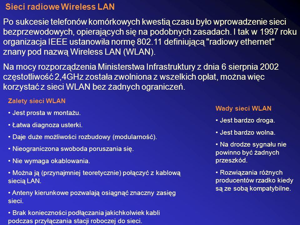 Sieci radiowe Wireless LAN Po sukcesie telefonów komórkowych kwestią czasu było wprowadzenie sieci bezprzewodowych, opierających się na podobnych zasa